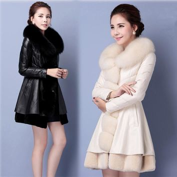 White And Black Long Faux Fox Fur Coat Women Winter Jacket Slim Mink Womens Winter Jackets Veste Fourrure Abrigo Pelo Mujer
