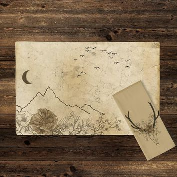 Rustic Lodge Mountain Flower Line Art Design | Cloth Napkin and Placemat