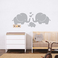 ANBER Cute Elephant Family With Hearts Wall Decals Baby Nursery Decor Kids Room Wall Stickers, 30''W x11.8''H, Grey