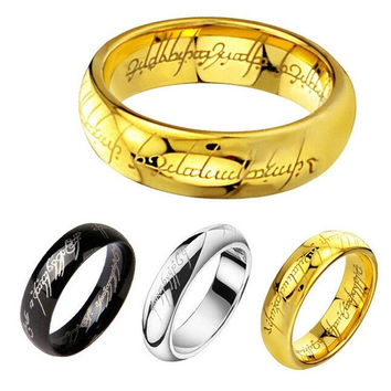 316L Stainless Steel Lord of the Rings Men Punk Ring and Necklace Couple Style Size 6-13 GQ001(6mm) = 1930128836
