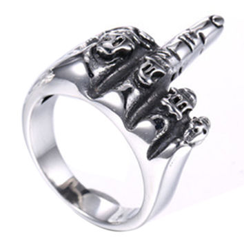 Cool Skull Bone Rings for Women Men Punk Stylish Stainless Steel Middle Finger Ring Men's Personality Biker Rings