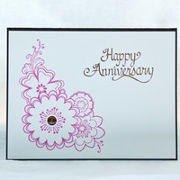 Happy Anniversary Pink and Brown Floral Designer Handmade Card