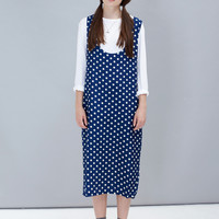 Polka Scoop Midi Dress Navy - THE WHITEPEPPER