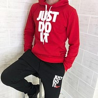 NIKE Just Do It New fashion letter print hooded long sleeve top sweater and pants two piece suit men Red