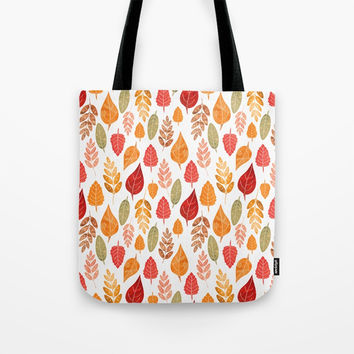 Painted Autumn Leaves Pattern Tote Bag by Tanyadraws