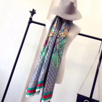"2017 ""GUCCI"" brand new summer women's scarf fashion lady silk scarves print soft shawls pashmina foulard femme long size bandana"