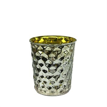Set of 4 Yellow and Silver Hammered Mercury Glass Decorative Votive Candle Holders 4""