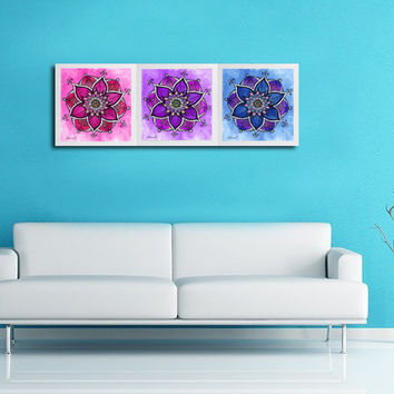Purple Blue Pink 3 Piece wall decor - Mandala painting - Large Prints A2 A3  - Ethnic Art - Watercolor colored pencils Art