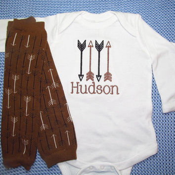 Baby Boy Clothes Bodysuit Leg Warmers Newborn Gift Set Personalized Embroidered Monogram Arrow Design Coming Home Outfit Newborn Take Home