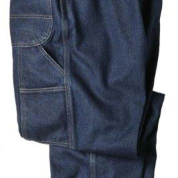 "Dickies Occupational Workwear LU200RNB3834 LU200 Industrial Carpenter Denim Jean, Fabric, 38"" x 34"", Rinsed Indigo Blue"
