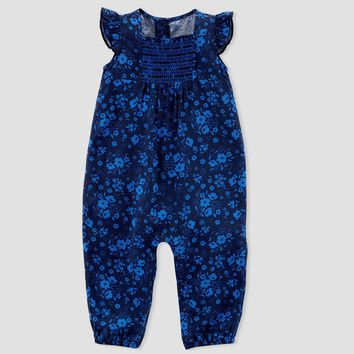 Baby Girls' Floral Jumpsuit - Just One You™ Made by Carter's® Blue