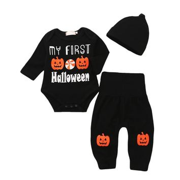 Arloneet halloween costume children's clothing Letter Romper Tops Pumpkin Prin Pants Cap Halloween Clothes Sets l0801