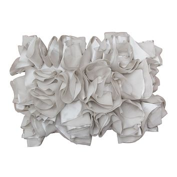 The Dove Grey Ruffled Pillow