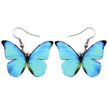Acrylic Pattern Drop Dangle Big Morpho Menelaus Butterfly Earrings Fashion Accessories Insect Jewelry For Women