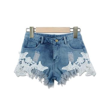 Hot Shorts ENWAYEL Summer Casual Hole Lace Denim  For Women Patchwork Flower Tassel Sexy Beach Blue Ripped Pocket Jeans Short FemaleAT_43_3