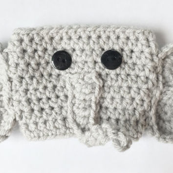 Coffee Cozy, Crochet Coffee Cozy, Elephant Coffee Cozy, Mug Cozy, Elephant cup cozy, Cup Cozy, Elephant Coffee Sleeve, Coffee Cozy Sleeve