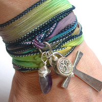 Hand Dyed Silk Wrap Bracelet with Ankh, Tree of Life and Amethyst Also can be worn as a choker or longer necklace