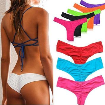 ONETOW Bikinis Bottom Pure Color Brazilian T-back Semi V Thong Swimwear High Quality Swimsuit Sexy Bathing Suit Bathers