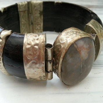 Large vintage bangle bracelet,  black wood with large natural stoncia and stamped sterling silver