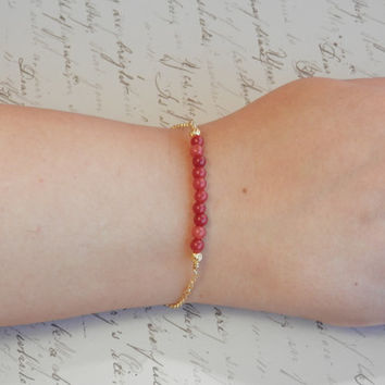 Curved Bar Bracelet-Dainty Gold Bracelet-Gold vermeil  (gold plated over .925 sterling silver) chain-Red Coral Bracelet