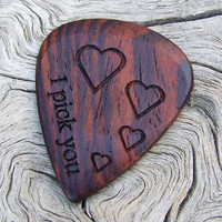 Cocobolo Rosewood Premium Guitar Pick - Handmade Laser Engraved - 2 Sided Design
