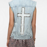 BDG Studded Cross Denim Vest