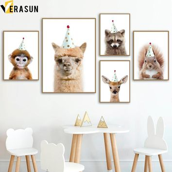 Deer Llama Monkey Raccoon Squirrel Nordic Posters And Prints Wall Art Canvas Painting Nursery Wall Pictures For Kids Room Decor
