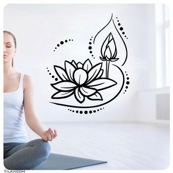 Lotus Flower Wall Decals Yoga  Namaste Signs Vinyl Sticker Home Decor Art SM135