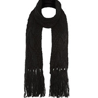 Black Cable Knit Tassle Scarf