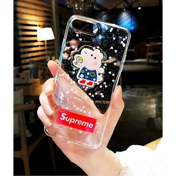 Supreme X Peppa Pig Popular Lovely Cartoon Pattern Transparent Jelly Crystal Mobile Phone Cover Case For iphone 6 6s 6plus 6s-plus 7 7plus 8 8plus X Blue I12214-1