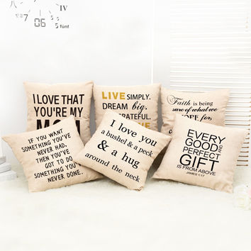 Alphabet Linen Sofa Home Cars Cushion Stylish Cotton Linen Cushion Cover [6372469252]