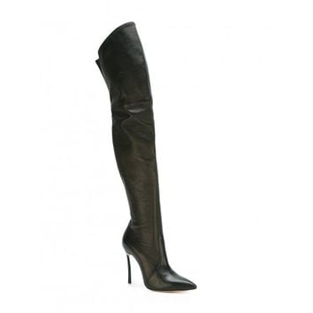 CASADEI Over-The-Knee Leather Blade-Heel Boots