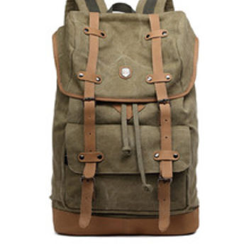 Green Canvas Leather Hiking Travel Rucksack Backpack