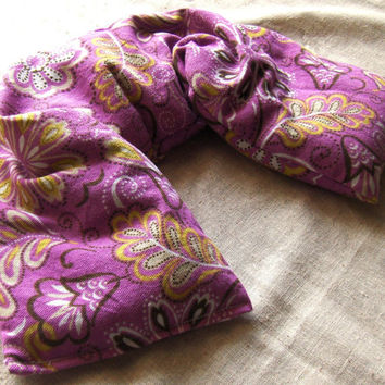 Lavender Rose Flaxseed Neck Wrap - Flax seed pillow - Microwavable Heat Pack - Pillow or Heating Pad - Microwave Neck Warmer