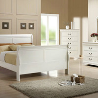 Solid Wood Sleigh Bedroom Set - White