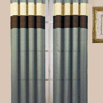 Choco/ Blue Rod Pocket Window Curtain Panel 40x84""