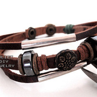 Flower brass bead leather warrior bracelet from Urban Zen Jewelry Boutique
