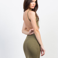 Backless Ribbed Dress