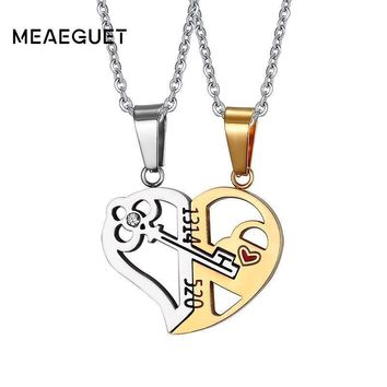 """Meaeguet Romantic Couples Heart Key Crystal Pendant Her & His Love Necklace Set Lover Valentine Stainless Steel 24"""" Chain"""