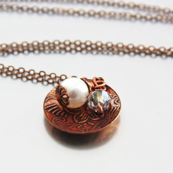 Copper Necklace White Pearl Swarovski Crystal Necklace Antique Copper Circle Pendant Single White Pearl Charm June Birthstone Jewelry