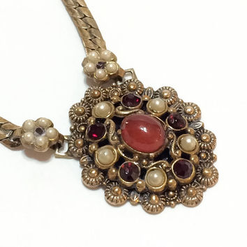 Victorian Pendant Necklace, Garnet & Pearl, Victorian Revival Necklace, Deep Rose Gold, Karu Fifth Avenue, 1940s, Vintage Jewelry