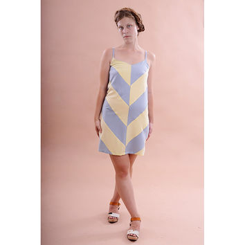 Yellow and blue chevron dress