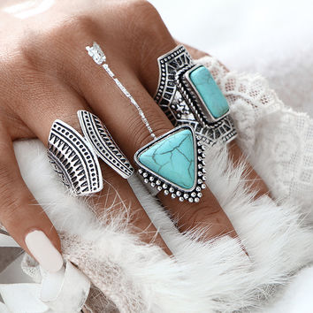 Fashion Design 3 pcs/Set Turquoise Vintage Silver Color Big Ring Set Red Faux Stone Gold Color Rings For Party Women Jewelry