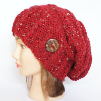 Slouchy beanie red hat tweed - beanies hat - Slouchy Beanie hats - Irish - chunky knit - knitted Accessory - Slouchy hat for women, button