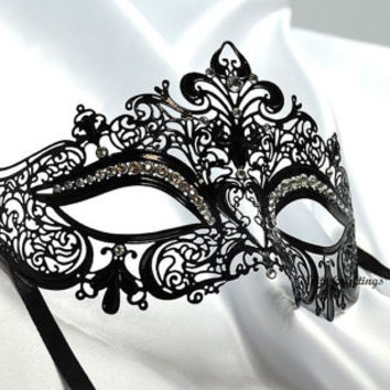 Luxurious Venetian Black Masquerade Mask - Intricate Laser Cut Design Made of Light Metal with Diamonds