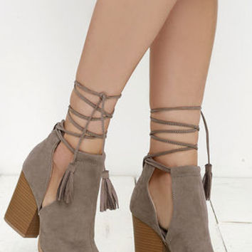 Cut and Fly Taupe Suede Lace-Up Ankle Booties