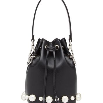 Fendi Bag With Pearls - Black/White Adjustable Shoulder Strap Bag