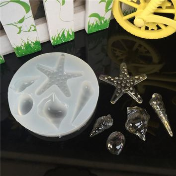1pcs New Shells Conch Starfish Liquid silicone mold DIY resin jewelry pendant lanugo mold resin molds for jewelry