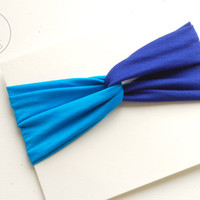 Baby Twisted Turban Headband  2 Coloured Baby Headband Azure Blue Cobalt BLEU Toddler Headband