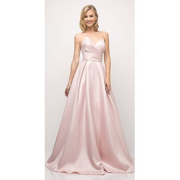 Long Strapless Ball Gown Rose Pink Pointed Sweetheart Pleated Bodice